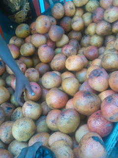 Fruits being sold on the road by a hawker in Nyeri.