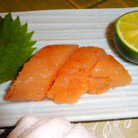 fish egg (tobiko) sashimi in Tokyo, Tokyo, Japan