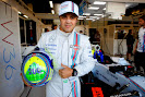 Felipe Massa with his helmet commemorating his 200th F1 start