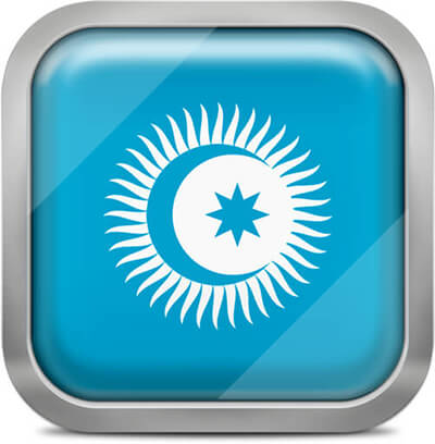 Turkic Council square flag with metallic frame