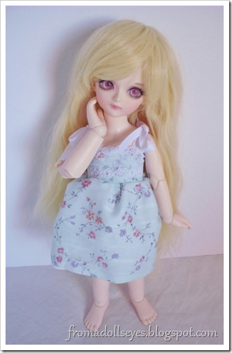 Of Bjd Fashion: Darling Little Sun Dresses: Blue floral doll dress for yosd