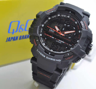 jam tangan Q&Q GW86J002Y double time black rubber Oren