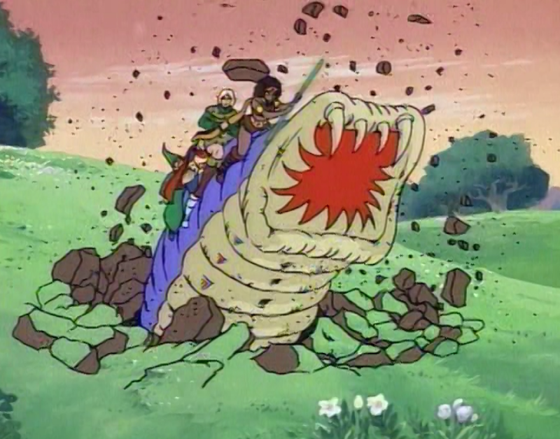 Purple worm with Diana, Hank, Eric, and Presto bursting through the earth