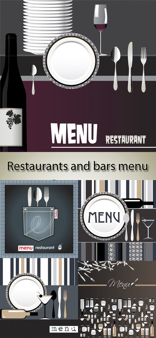 Stock: Restaurants and bars menu, retro
