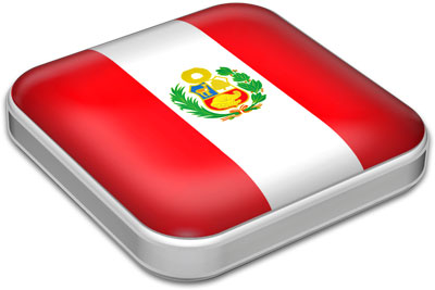 Flag of Peru with metallic square frame