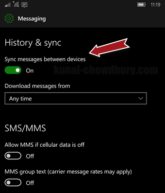 How to sync your messages across #Windows 10 Mobile devices? (www.kunal-chowdhury.com)