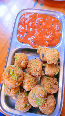 Mixed Dal, Fava Bean and Paneer Pakoras with Rhubarb Strawberry Achaar from Bollywood Theater, recipe on the blog today