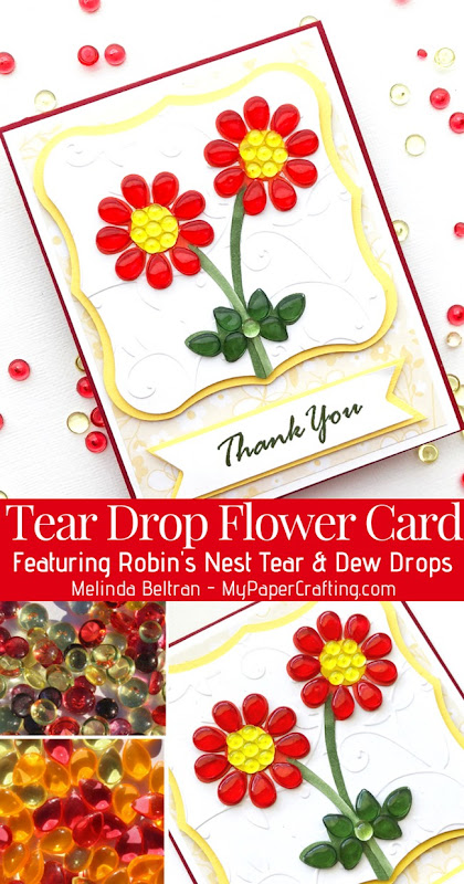 Robins Nest Red tear drop flower card
