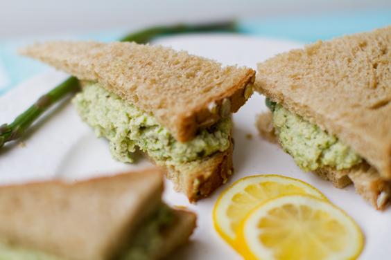 Lemon Jalapeño Asparagus Cashew Salad Sandwiches