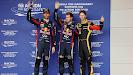 Mark Webber (AUS/ Red Bull Racing), Sebastian Vettel (GER/ Red Bull Racing) und Romain Grosjean (FRA/ Lotus)
