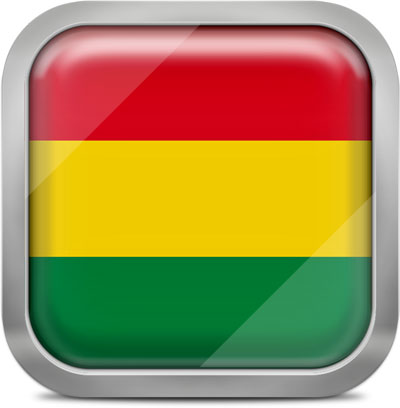 Bolivia square flag with metallic frame