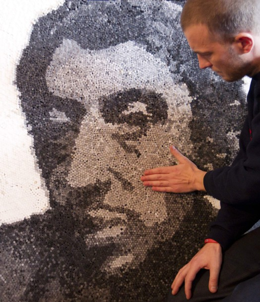 Swiss Artist Creates Realistic Portrait from 20,000 Cigarette Filters