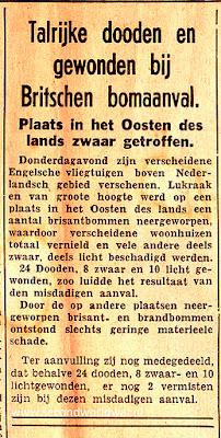 Artikel verschenen in de Tubantia in januari 1942