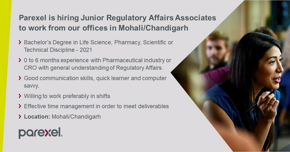 Opening For Freshers In Regulatory Affairs At Paraxel