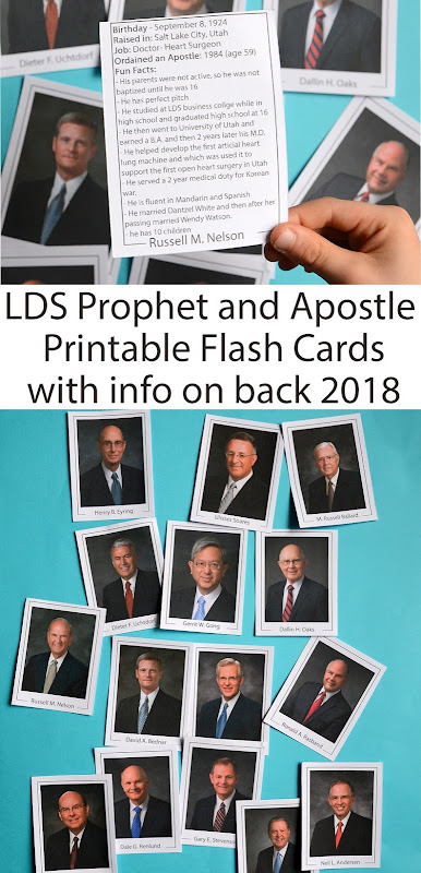LDS General Conference prophet and apostle Printable flashcards wth info 2018 printable