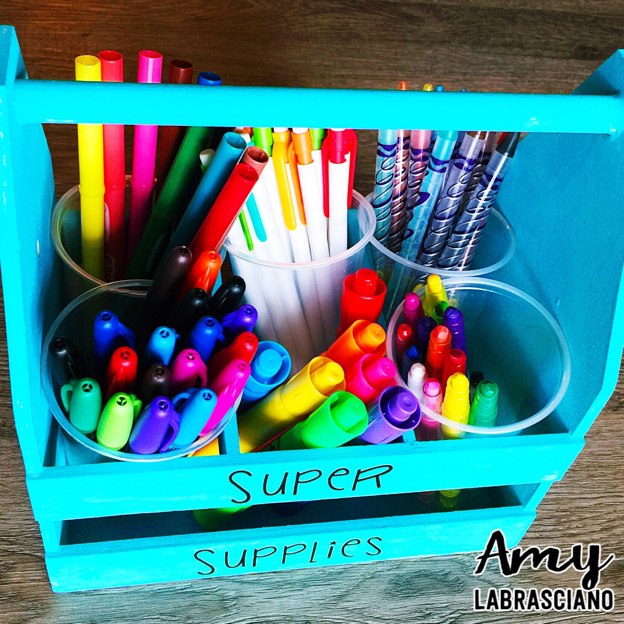 Super Supplies for the classroom.  Engage students with a simple DIY caddy that sure to win over students. Perfect for behavior and academic incentives.  Store your crayons,markes, and pencils. {elementary, homeschool, first, second, third, fourth, fifth grade, 1st, 2nd, 3rd, 4th, 5th}