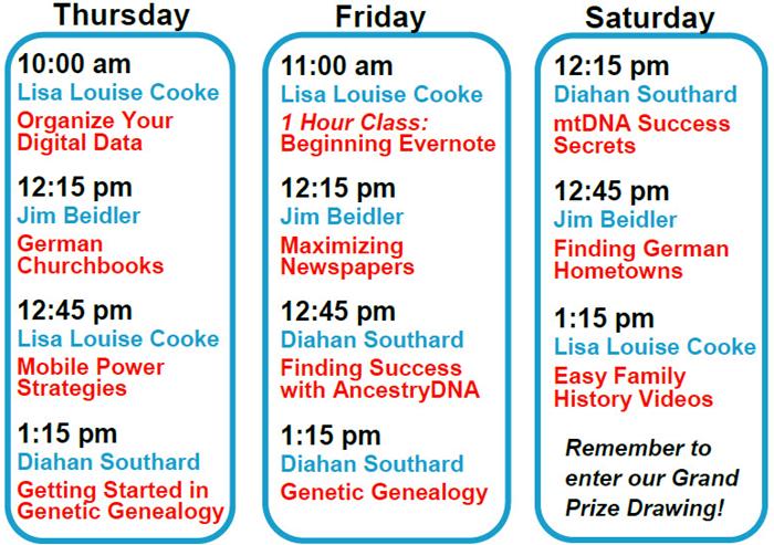 FGS 2016 Genealogy Gems booth schedule