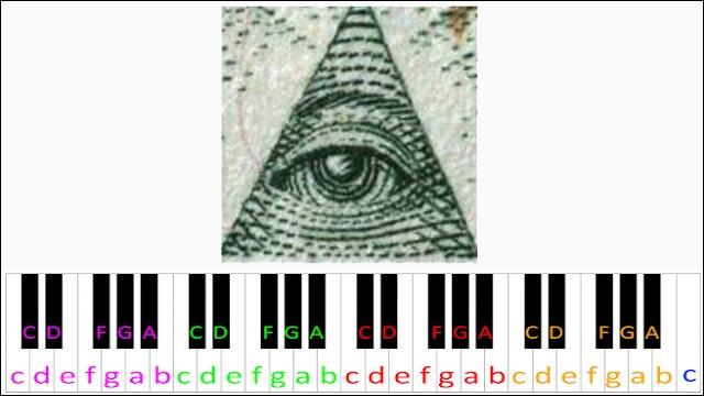 X-Files Theme (Illuminati Confirmed) ~ Piano Letter Notes