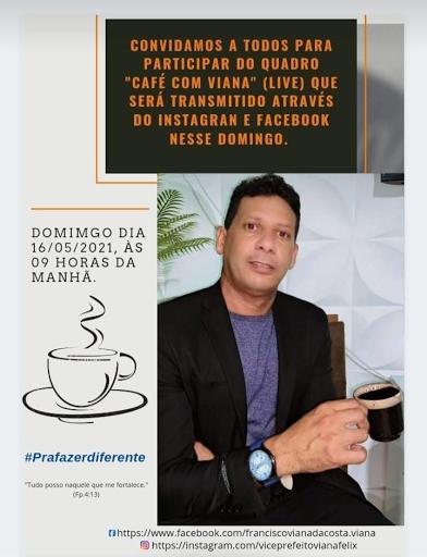 Vice Prefeito de Salitre Viana Félix, fará neste domingo (16), a  live Café do Viana e serão debatidos os desafios da gestão publica