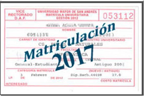 Matriculación UMSA 201