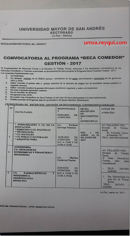 "UMSA: Convocatoria al programa ""Beca Comedor"" gestión 2017"