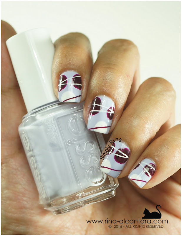 For the Love of Abstract Nail Art on Essie Virgin Snow