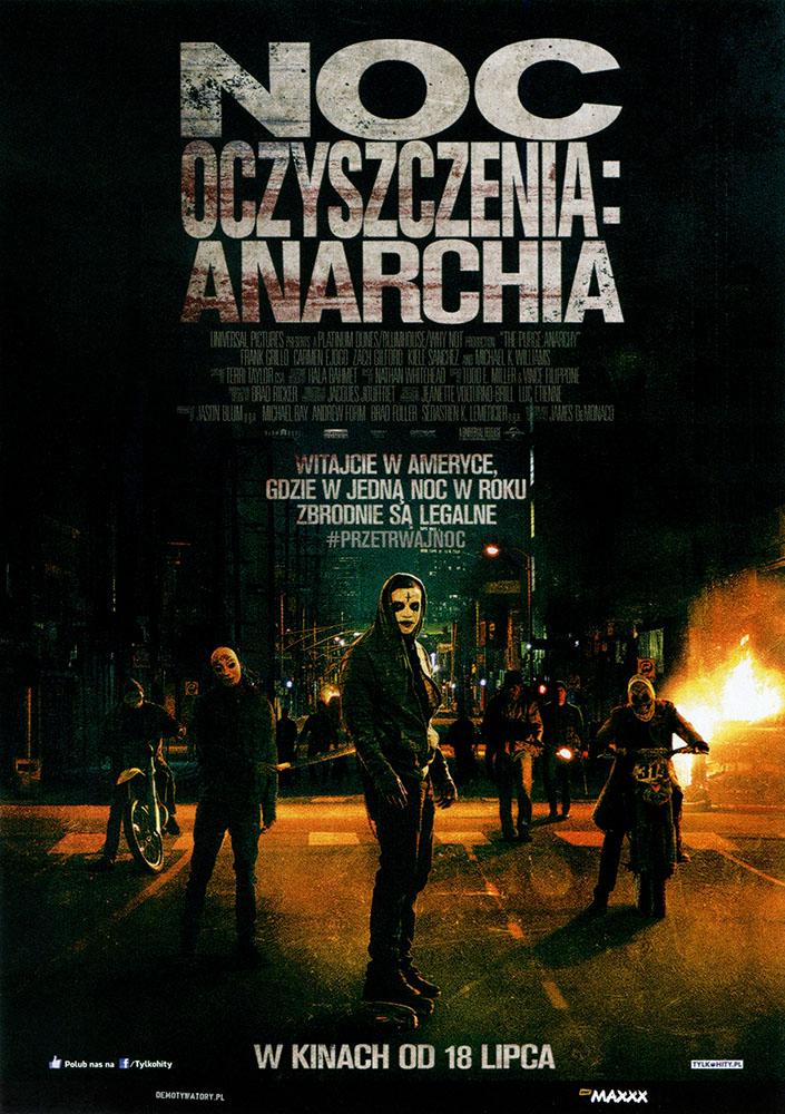 Ulotka filmu 'Noc Oczyszczenia: Anarchia (przód)'