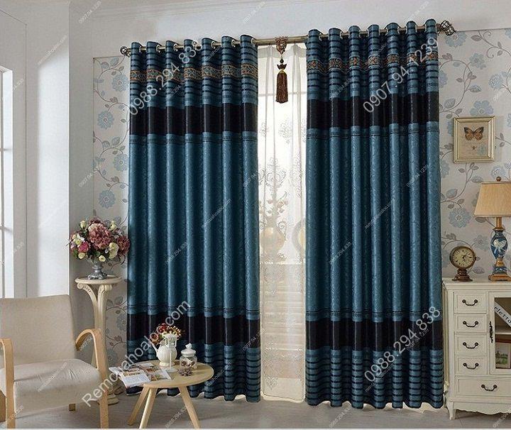 Rèm cửa cao cấp hà nội một màu xanh diềm 10
