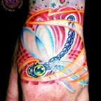 Purple and Blue Dragonfly - Hand Tattoo - Hand Tattoos Designs