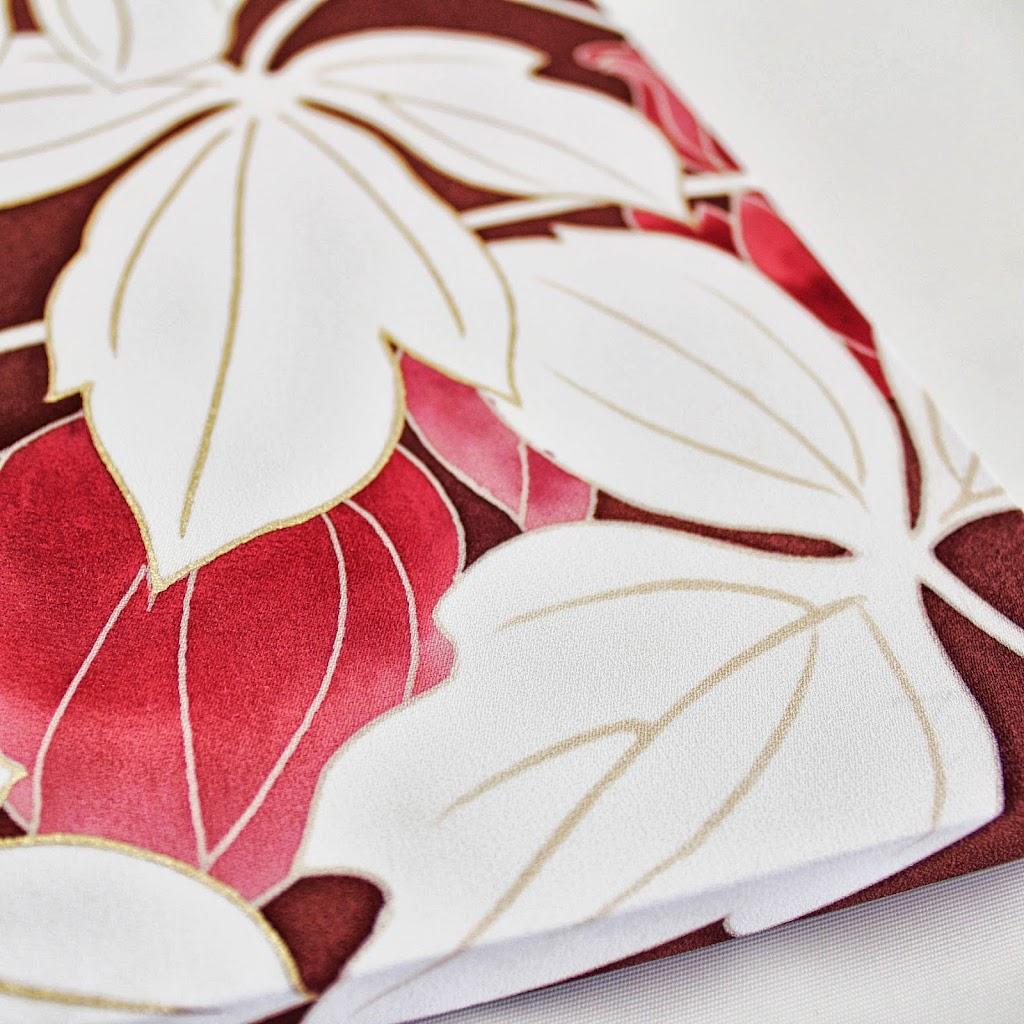 Hand-Painted Kimono Silk Panel - Odamaki (wine)