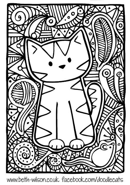 Free Coloring Page Coloringadultdifficultcutecat