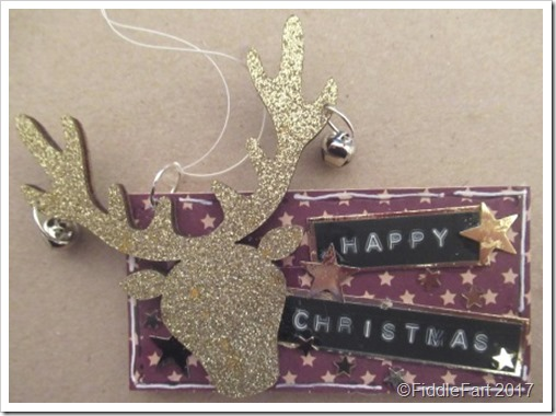Gold Stags Head Wooden Christmas Tag