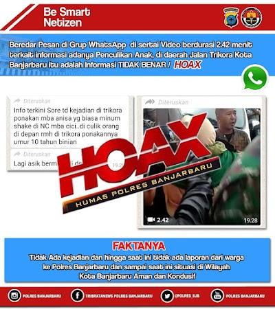 Hoaks Menyebar di Banjarbaru, Ini Penjelasan Pihak Polres
