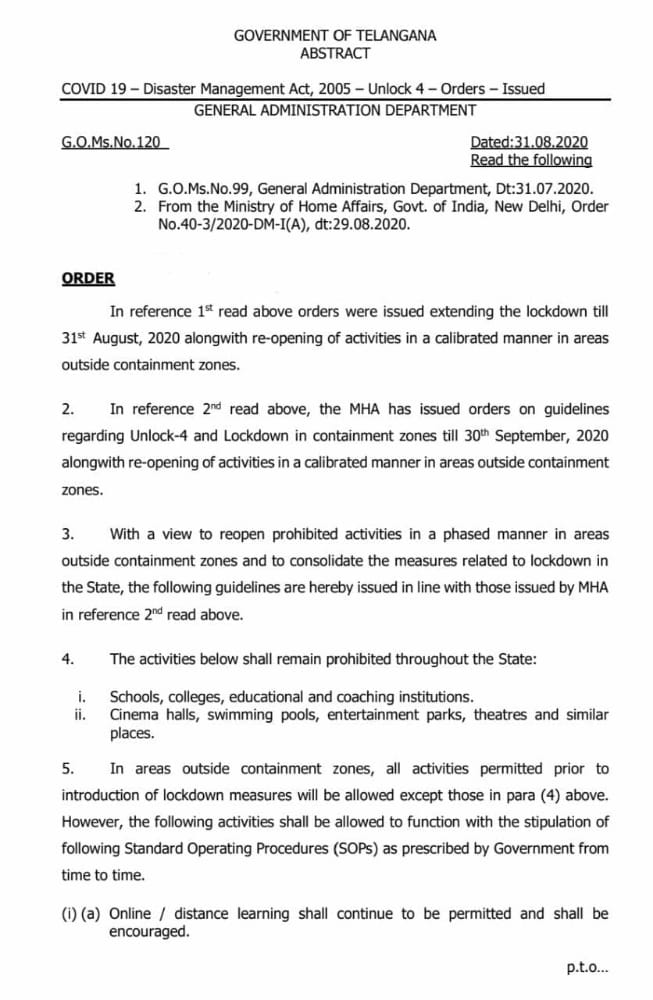 Re - opening of activities in a calibrated manner in areas outside containment zones G.O.Ms.No. 120 Dated : 31.08.2020