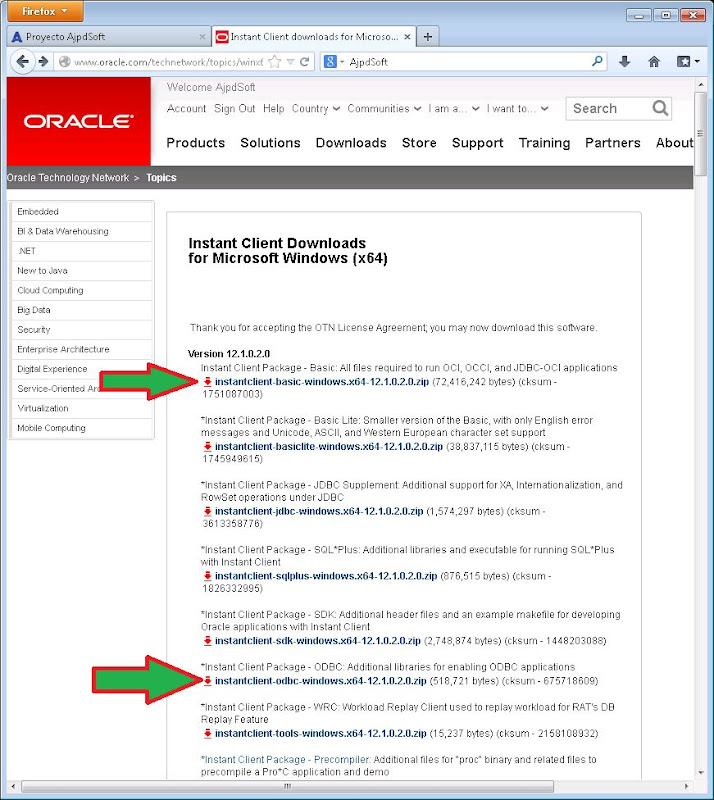 Requisitos para acceder a base de datos Oracle 12c desde equipo Windows sin instalar software con Oracle Instant Client Package