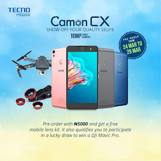 Preorder For Tecno Camon CX Now With N5000 And Get Amazing Rewards