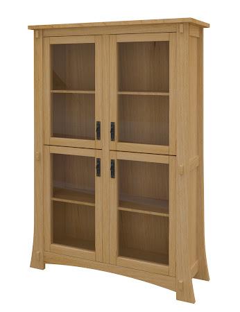 Seville Glass Door Bookshelf in Ginger Maple