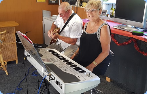 Our hosts, Jan and Kevin Johnston playing for us - Jan on her Korg Pa1X and Kevin on his Crafter acoustic guitar