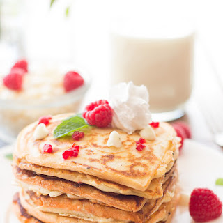 Perfect White Chocolate Raspberry Pancakes