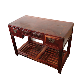 Chinese Elm Four Drawer Hall Table