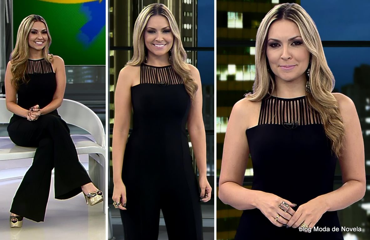 moda do programa Domingo Espetacular - look da Thalita Oliveira dia 31 de agosto