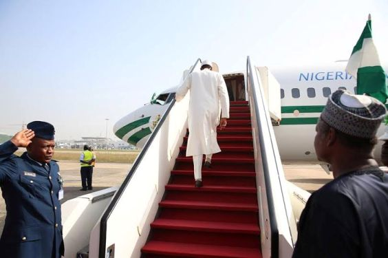 Image result for pictures of president buhari leaving for london today