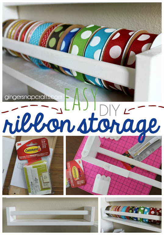 Easy DIY Ribbon Storage #gingersnapcrafts