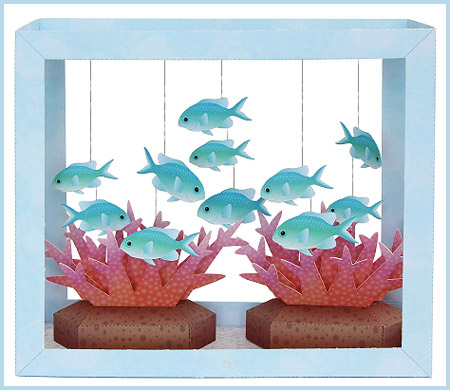 Aquarium Papercraft Blue-Green Puller