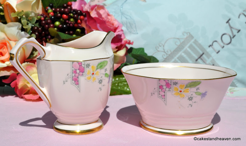 Hand painted pink bone china from the Art Deco period