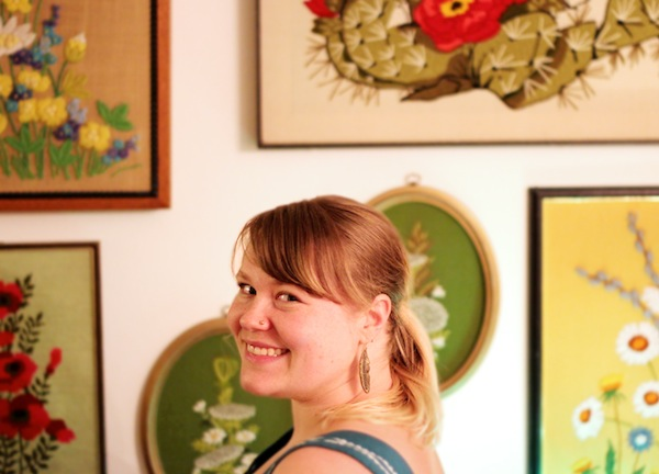 crewel embroidery and DIY kit artist emily baier of tako fibers