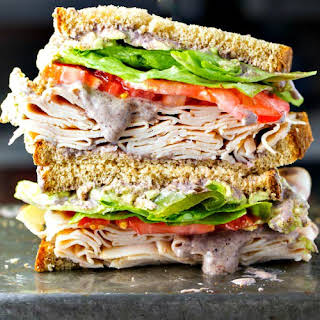 Healthy Turkey Sandwich Recipe with Black Bean Spread.