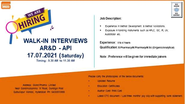 Walk-In For Freshers & Experienced In Analytical Research At Gland Pharma