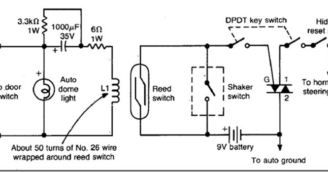 diy auto burglary alarm circuit diagram using reed switch. Black Bedroom Furniture Sets. Home Design Ideas