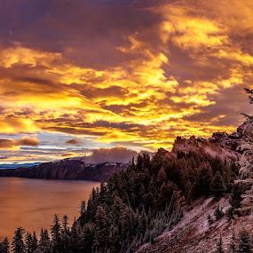 Crater Lake Sunrise by Sandra Woods - Landscapes Sunsets & Sunrises ( oregon, crater lake, snow, lake, sunrise,  )